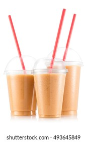 Banana, strawberry and pineapple smoothie in three size of plastic cup