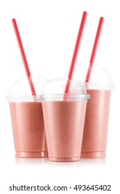 Banana and strawberry smoothie in three size of plastic cup