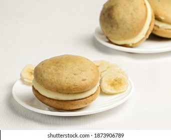 Banana Whoopie Pies for Dessert on white background
