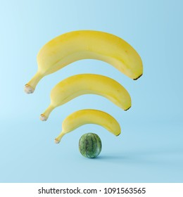 Banana wifi with watermelon on pastel blue background. Creative idea. minimal concept