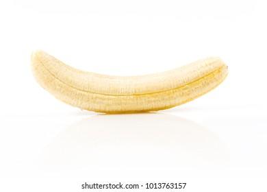 Banana without peel isolated on white background