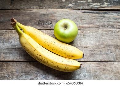 Bananas and apple