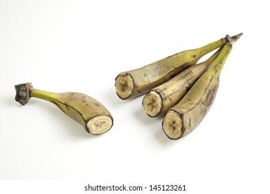 Bananas bad cut, detail spoiled fruit, food
