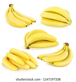 Bananas collection isolated on a white.