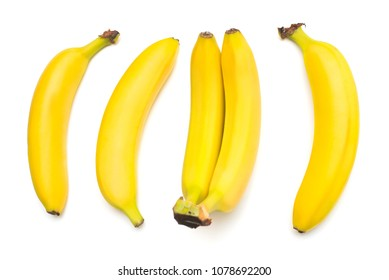 Bananas isolated on white background. Flat lay, top view