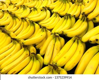 Bananas on display at a market.