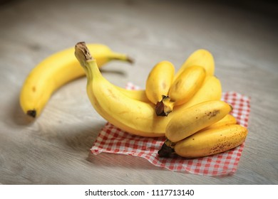 bananas on wooden background