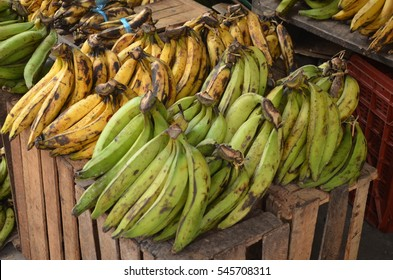 Bananas and other fruit for sale on a market stall in Iquitos, Peruvian Amazon