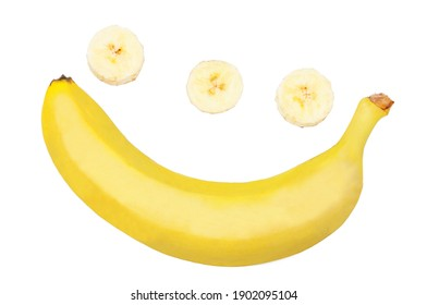 Bananas and slices isolated on a white background, top view.