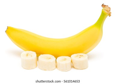 Bananas and slices isolated on a white background. Flat lay, top view