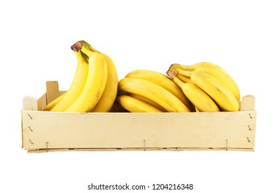 Bananas in wooden box isolated