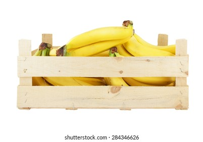 Bananas in wooden box isolated on white background