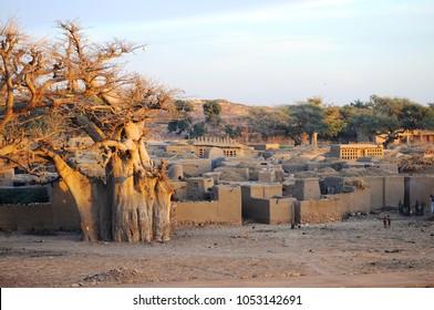 Banani, Mali - December, 30, 2014: view of remote dogon village of Banani