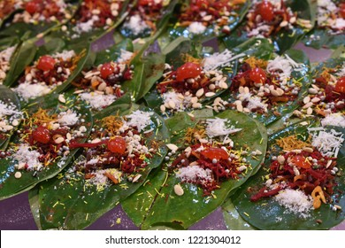 Banarasi Paan is a famous mouth freshener in specially  UP , Bihar  and  all over the India. Betel leaves are stuffed with Catechu, Pickling Lime, Areca Nut, Plain Tobacco and other things.