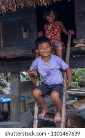 BANAUE, PHILIPPINES - MAY 02 : Children from Ifugao Minority in Banaue the Philippines on May 02 2018. The Ifugao minority mostly live in the mountains of north Philippines