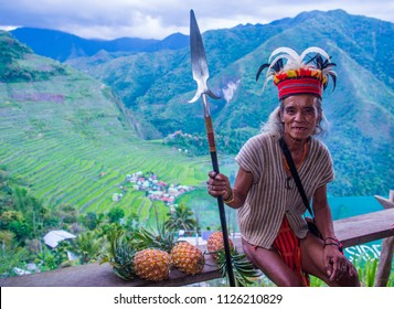 BANAUE, PHILIPPINES - MAY 02 : Portrait of a man from Ifugao Minority in Banaue the Philippines on May 02 2018. The Ifugao minority mostly live in the mountains of north Philippines
