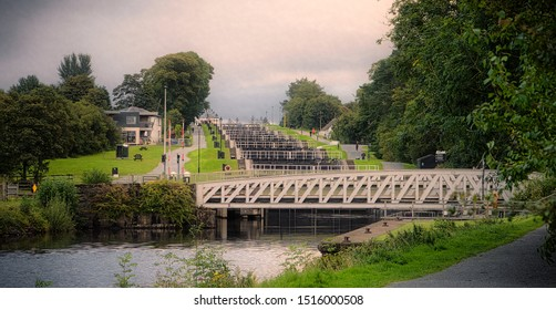 Banavie, UK - September 4, 2019: Neptune's Staircase is made up of eight locks on the Caledonian Canal. It was built by Thomas Telford between 1803 and 1822 and is the longest staircase lock in the UK