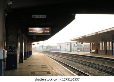 Banbury, UK 04.01.2019 - Banbury Train Station empty platforms.  No trains or people.