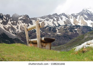 Banch, Mountains and snow,springtime . Peaceful place in nature, scenery landscape Relax, mind reset concept. Durmitor Montenegro.