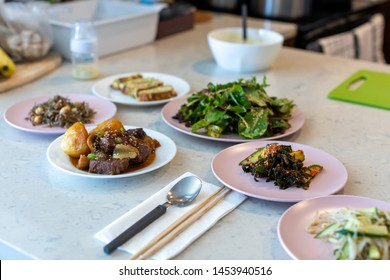 Banchan, side dishes served along with cooked rice, Korean style food