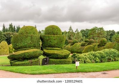 Banchory, Aberdeenshire / Scotland - September 2017: Entrance to landscaped garden at Crathes Castle