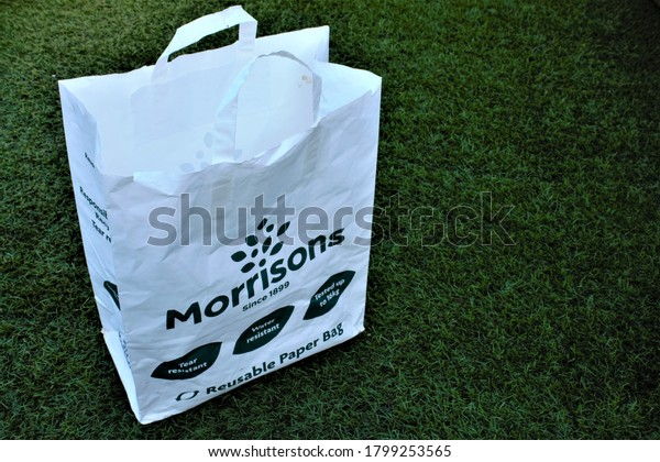 Banchory, Scotland, UK, 20/08/2020: Morrisons reusable paper bag isolated with copy space