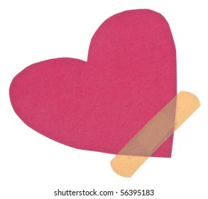 Band Aid Over A Broken Heart Conceptual Image.  Isolated on White with a Clipping Path.