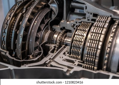 Band brake and torque converter in transmission cutaway