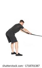 Band Resisted Hip Hinge to Face Pull Gym Exercise Image 1