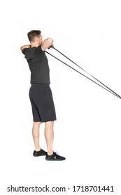 Band Resisted Hip Hinge to Face Pull Gym Exercise Image 2