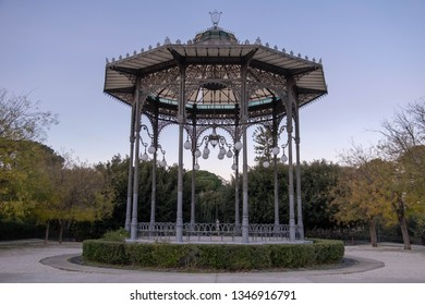 A band stand in the morning; the bandstand in Villa Bellini or Giardino Bellini (Bellini garden) the largest and oldest park and garden in Catania, Sicily, Italy.