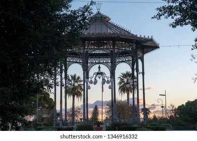 A band stand on a summer morning; the bandstand in Villa Bellini or Giardino Bellini (Bellini garden) the largest and oldest park and garden in Catania, Sicily, Italy.