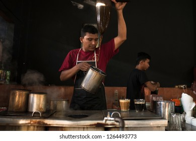 Banda Aceh, Aceh/INDONESIA, November 16, 2018: Traditional process of Aceh coffee making by Barista at Local Coffee Shop