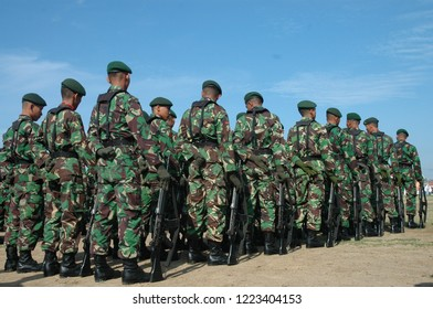 Banda Aceh, Indonesia - August 16, 2005: Indonesian Military Army Soldier in Indonesian Independence day celebration at Blangpadang, banda aceh, Indonesia.