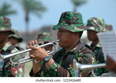 Banda Aceh, Indonesia - August 16, 2005: Indonesia military marching band at Indonesian Independence day celebration at Blangpadang, banda aceh, Indonesia