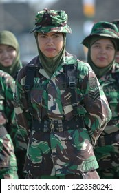 Banda Aceh, Indonesia - August 16, 2005: Indonesian women's military army corps at Indonesian Independence day celebration at Blangpadang, banda aceh, Indonesia.