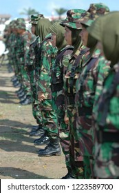 Banda Aceh, Indonesia - August 16, 2005: Indonesian women's military army corps at Indonesian Independence day celebration at Blangpadang, banda aceh, Indonesia