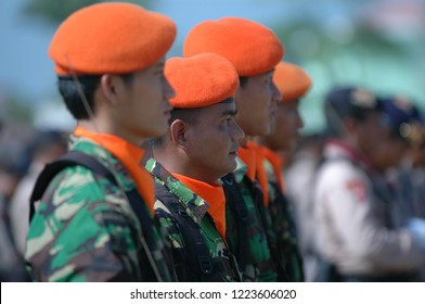 Banda Aceh, Indonesia - August 16, 2005: Indonesia military Special Forces at Indonesian Independence day celebration at Blangpadang, banda aceh, Indonesia