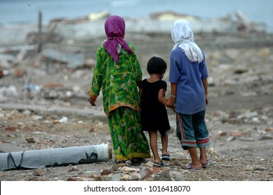 Banda Aceh, Aceh / Indonesia - December 26 2004 : Natural Disaster of Earthquake and Tsunami in Indian Ocean