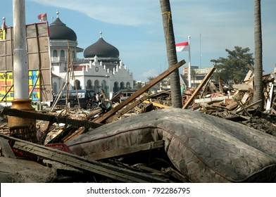 Banda Aceh, Aceh / Indonesia - December 26 2004 : Natural Disaster Earthquake and Tsunami in Indian Ocean