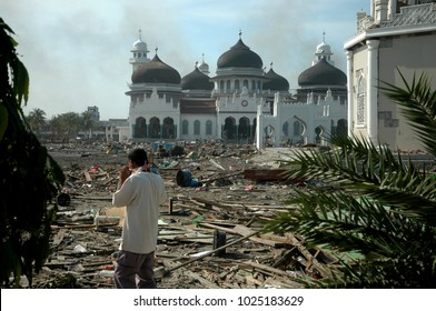 Banda Aceh, Aceh, Indonesia - December 29, 2004 : Baiturrahman Mosque view after earthquake and tsunami Indian Ocean Destroyed Banda Aceh City in December 26 2004