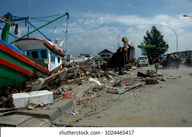 Banda Aceh, Aceh, Indonesia - December 31, 2004 : Indian Ocean Earthquake and Tsunami disaster Destroyed Banda Aceh City in December 26 2004