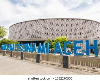 Banda Aceh, Indonesia - January 12 2018: In Front of Aceh Tsunami Museum Signage