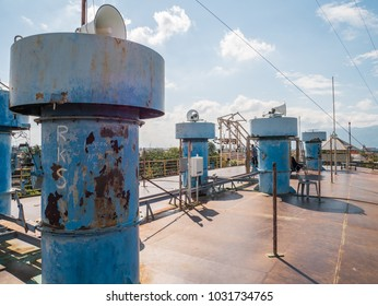 Banda Aceh, Indonesia - January 13 2018: PLTD Apung upper deck. PLTD Apung is a silent witness to the devastating tsunami in Aceh, Indonesia.
