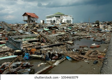 Banda Aceh, Aceh, Indonesia - January 16, 2005:Baiturrahim Mosque after earthquake and tsunami Indian Ocean Destroyed Banda Aceh City in December 26 2004