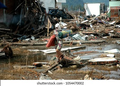 Banda Aceh, Aceh, Indonesia - January 16, 2005: City of Banda Aceh after earthquake and tsunami Indian Ocean Destroyed Aceh Province Indonesia in December 26 2004