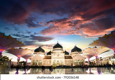 Banda Aceh, Aceh / Indonesia - June 21 2017 : Sunset view of Baiturrahman grand mosque