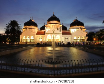 Banda Aceh, Aceh Province / Indonesia - august 08 2014 : Baiturrahman grand mosque