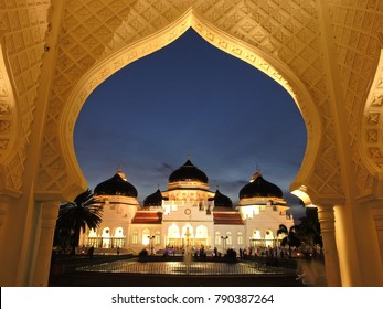 Banda Aceh, Aceh Province / Indonesia - august 08 2014 : Baiturrahman grand mosque
