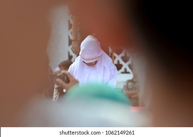 Banda Aceh, Aceh province/Indonesia - January 19 2018 : The execution of caning in 2018 against the perpetrators of violations of Islamic law in Banda Aceh in Ulee Kareng,